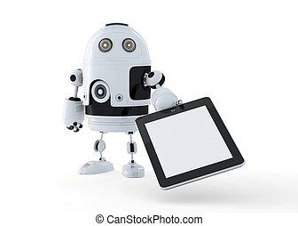 androide, robot, presa a terra, uno, vuoto, tavoletta digitale, pc.