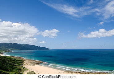 andscape of blue ocean and sky - Colorful landscape of blue...