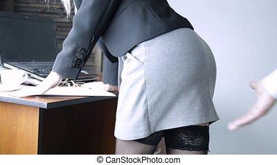 ane, bureau, saisir, femme, ouvrier, femme, sexuellement, ...