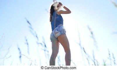 ane, style de vie, nature, shorts., dehors, sexy, girl