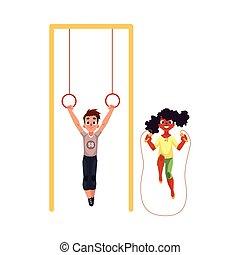 aneisél ginásticos, corda, pular, pátio recreio, amigos, tocando
