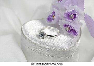 anel, 2, diamante