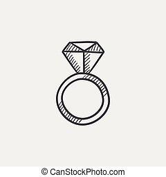 anel acoplamento, com, diamante, esboço, icon.