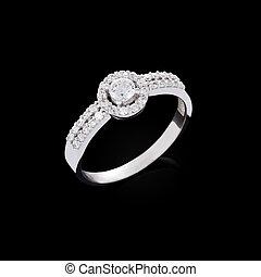 anel acoplamento, diamante, experiência preta