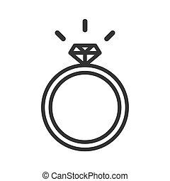 anel casamento, ícone, diamante