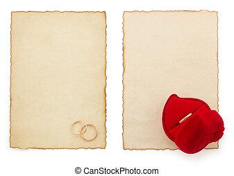 anel casamento, e, envelhecido, papel