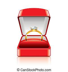 anel casamento, em, caixa presente, vetorial, ilustração