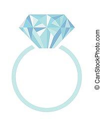 anel, com, diamante