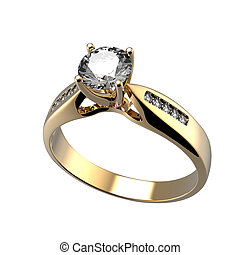 anel, com, diamante, isolado