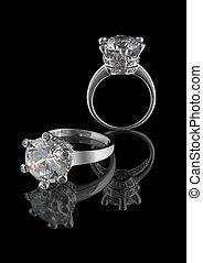 anel, com, grande, diamante, isolado, branco