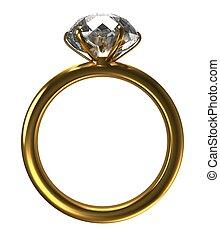 anel, com, um, grande, diamante