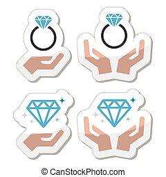 anel compromisso diamante, com, mãos