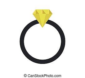 anel, diamante, ícone