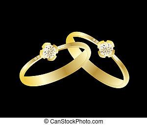 anel, diamante