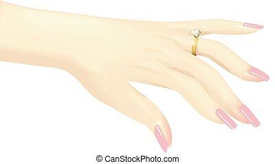 anel, diamante, mão, mostrar