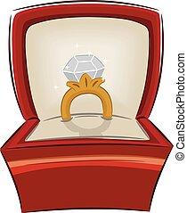 anel, diamante, proposta