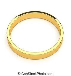 anel, isolado, ouro