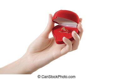 anel, mãos, coração vermelho, amor