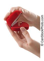 anel, mãos, coração, vermelho, amor