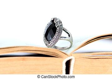 anel, moda, pretas, Pedra preciosa