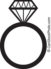anel, obrigação, diamante