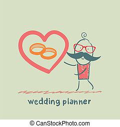 anel, planejador, casório, mostra