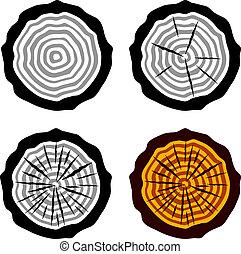 anelli albero, simboli, vettore, crescita, tronco