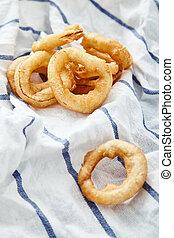 anelli, asciugamano, cipolla, cucina