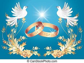 anelli, colombe, due, matrimonio