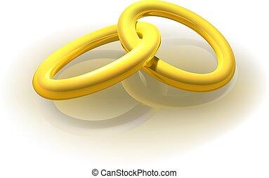 anelli, due, oro