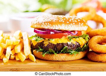 anelli, frigge, hamburger, cipolla