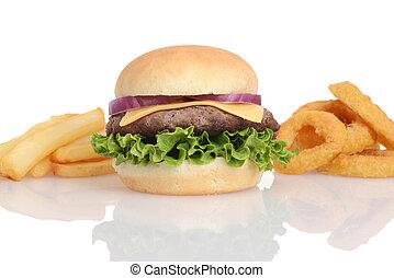 anelli, frigge, hamburger, francese, cipolla
