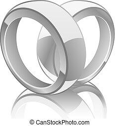 anelli, illustrazione, matrimonio