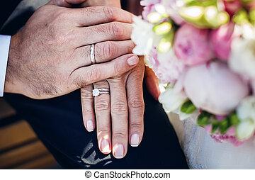 anelli, mani, matrimonio
