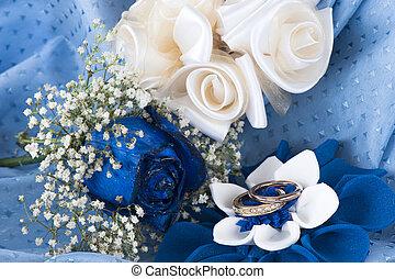 anelli, matrimonio, blu, rose