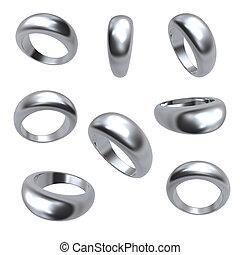 anelli, matrimonio, isolato, argento, collezione