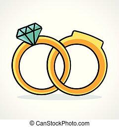 anelli, matrimonio, vettore, disegno, icona