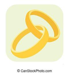 anelli nozze, cartone animato, icona