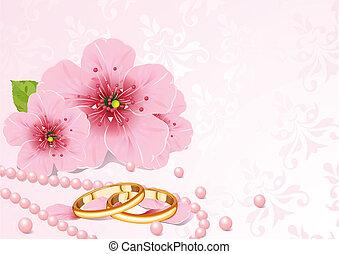 anelli nozze, e, fiore ciliegia