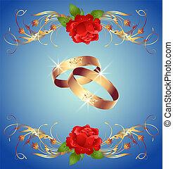 anelli nozze, e, rose rosse