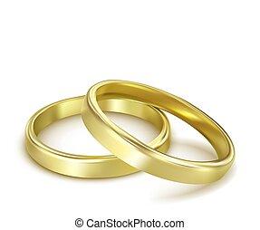 anelli, vettore, bianco, isolato, matrimonio, oro