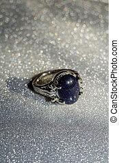 anello blu, aventurine