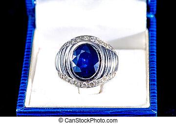 anello blu, zaffiro