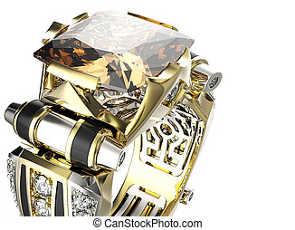 anello, con, cognac, diamond., gioielleria, fondo