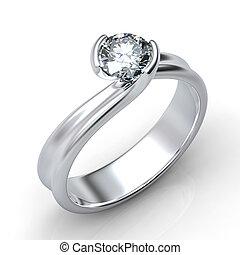 anello, diamante, isolato