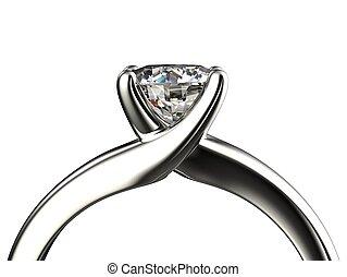 anello, diamante, isolato, fondo, bianco