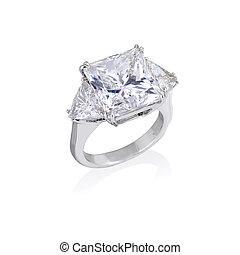 anello, diamante, sfondo bianco
