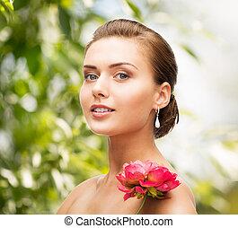 anello, donna, diamante, fiore, orecchini