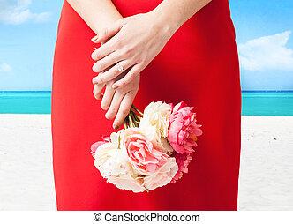 anello, donna, fiori, mani