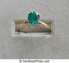 anello, verde, smeraldo